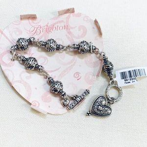 NWT Brighton Silver Heart Charm Bracelet